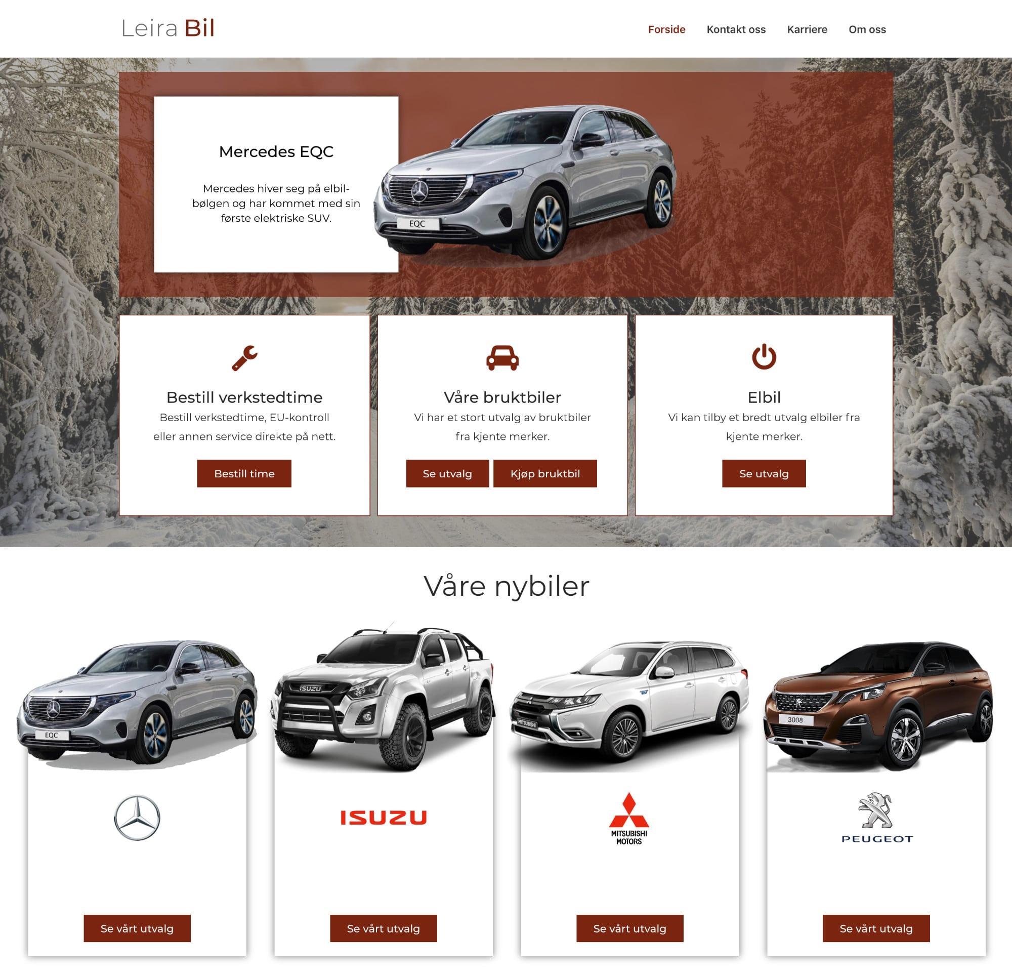 leira bil nettside eksempel