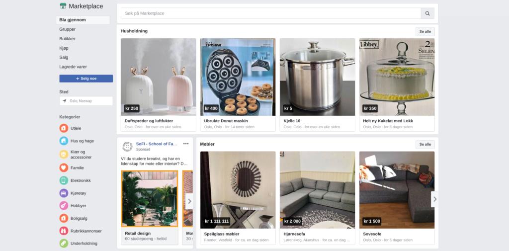 Facebook marketplace hovedside